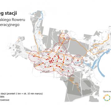 Mapa zasięgu stacji Bydgoskiego Roweru Aglomeracyjnego 2015-2017